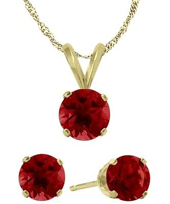 14K YG Created 1.65tcw. Ruby Solitaire Pendant and Earrings Set