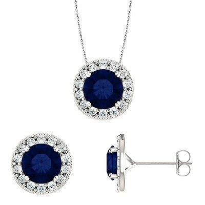 Silver 3.60 tcw. 6mm Created Sapphire Pendant & Earring Set