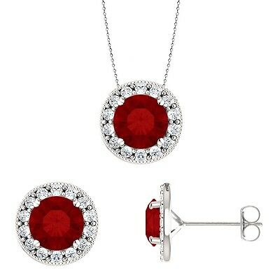 Silver 3.60 tcw. 6mm Created Ruby Pendant & Earring Set