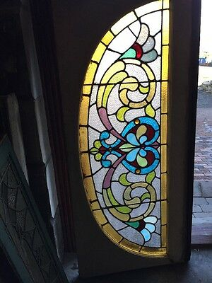 Sg 938 Antique Arch Stainglass Window With Jewels