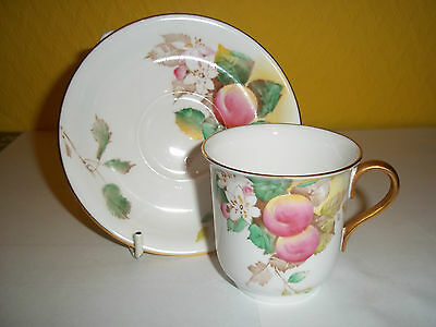 Beautiful antique Shelley fine bone china cup and saucer in a plum pattern, VGC.