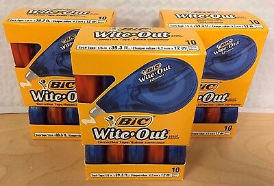3 WOTAP10 Wite-Out Correction Tape Non-Refillable 10 Pack Value-Packs