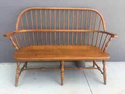 Ethan Allen Spindle Back Maple Wood Signed Numbered Deacons Bench