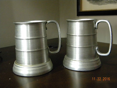 set of 2 vintage aluminum ribbed tankards/steins/mugs w/clear bottoms
