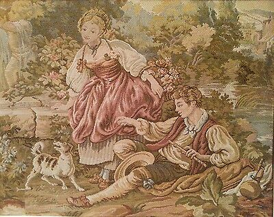 Vintage Woven Tapestry Couple in Garden