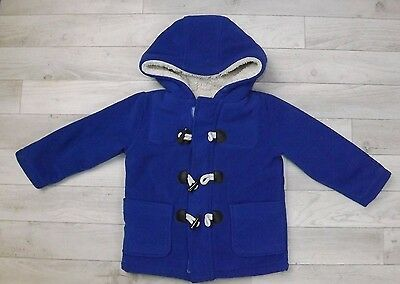 Debenhams Blue Zoo Royal Blue Fleece Furry Linen Duffle Coat Jacket Boys 2-3 Y