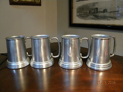 set of 4 vintage aluminum tankards/steins/mugs w/clear bottoms