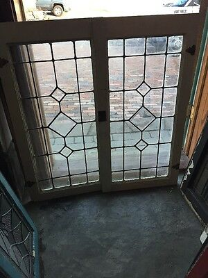 Sg 942 Antique Pair Beveled Glass Leaded Glass Cabinet Doors 36 In.²