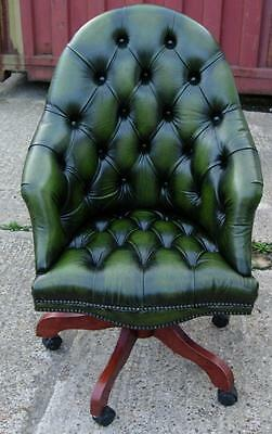 Green Leather Button Office Swivel Chair