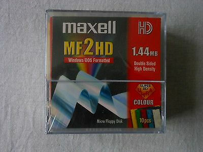 MAXELL MF2HD 1.44MB Coloured Floppy Disk 10 PACK  NEW SEALED