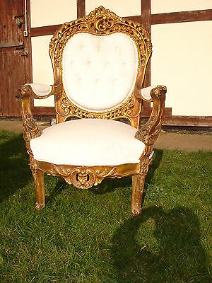Ornate French Louis Gold & Pearl /oyster/white Throne Chair @ Aunties Parlour