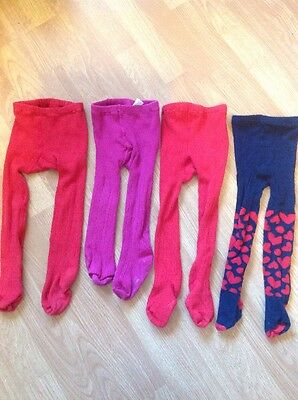 Tights Bundle GAP 2-3 years x4 pairs Red Blue Hearts Bear Bum Cable Knit Xmas