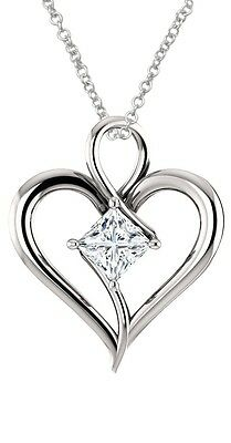 Sterling Silver Genuine 0.65 tcw. 5mm White Topaz Heart Pendant