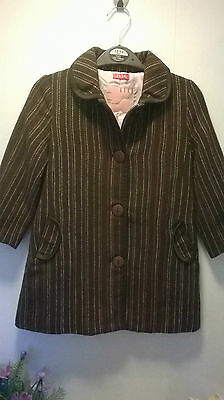ELLE girls wool mix coat age 5yrs worn once brown stripe pink dressy Beautiful
