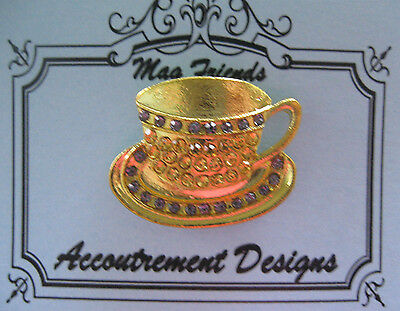 Accoutrement Designs Coffee Tea Cup Purple Gold Needle Minder Magnet Mag Friends