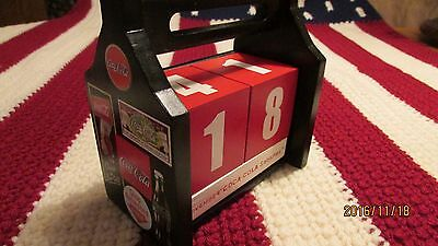 COKE Coca-Cola Sign Art Wood Block PERPETUAL CALENDAR Near Mint Condition