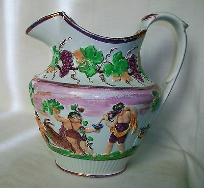 LARGE c1820's Antique Staffordshire Pitcher St. Anthony's Pottery Sewell RARE