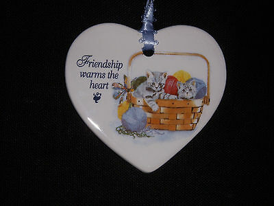 Friendship Warms The Heart  Heart Shaped Tie-on with Kittens & Yarn in a Basket
