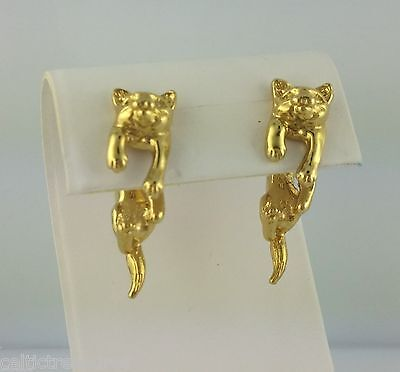 EARlusion 3D Gold Adorable Kitty Cat earrings