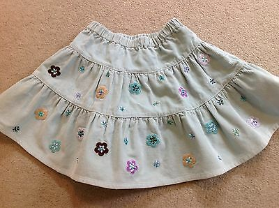 Gorgeous girls tiered cord skirt with flowers and sequins by albetta, age 3-4