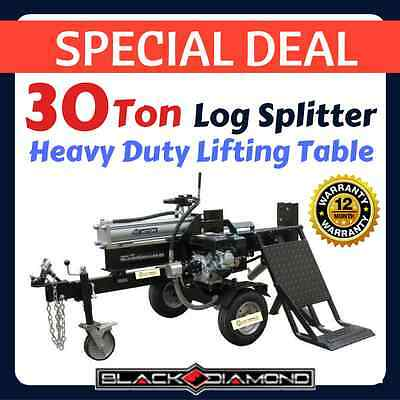LOG SPLITTER 30 TON with HYDRAULIC LIFTING TABLE Wood Cutter Axe