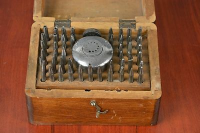 Old Antique Tools Instrument Watchmaker Wooden Box Pin Parts Part