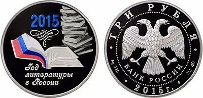 3 Rubel Russland PP 1 Oz Silber 2015 Year of Literature in Russia Proof