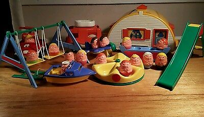 Vintage weebles caravan, playground, fire engine, plane and boat with 15 weebles