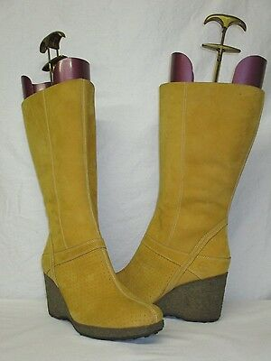 Timberland Wheat Leather Wedge Heel Perforated Toe Knee High Boots Size 9 1/2