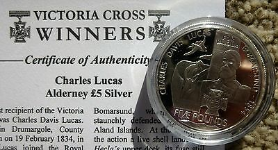 Alderney 2006 Silver Proof £5 Crown Coin Victoria Cross - Charles Lucas