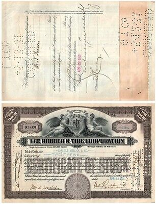 1931 Lee Rubber & Tire Corp Stock Certificate 25 Shares - Brown #028391