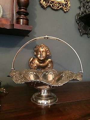 Vintage Ornate Silver Plated Fruit/Nut Bowl With Handle