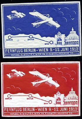 Aviation Race ~BERLIN to VIENNA~ 2 Beautiful / Embossed Poster Stamps, 1912