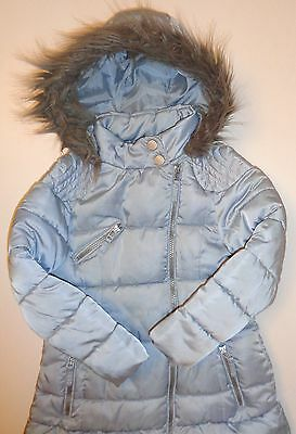 Next Girls Blue Padded Quilted Long Jacket Coat FauxFur Hood 5-6years Immaculate