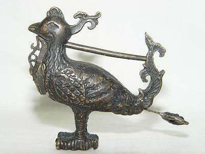 Rare Chinese old style Brass Carved Lovely phoenix bird padlock lock and key