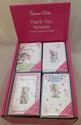 Cute Animal 8 Pack Thank You Notelets Thank You Cards By Simon Elvin
