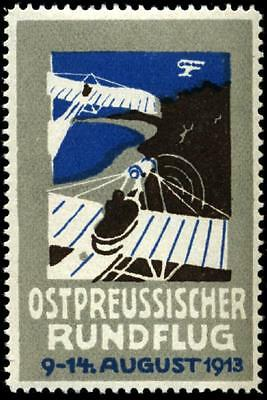 East PRUSSIAN Flight - Scarce Old AVIATION Poster Stamp, 1913