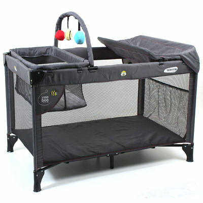 Vee Bee Sierra Baby/Toddler Portacot Newborn Portable Cot/Foldable Crib/Bed Grey