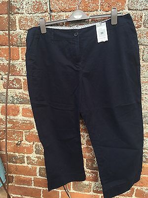 Marks And Spencer 20 Cropped Chinos Navy Blue M&S Ladies New BNWT summer trouser