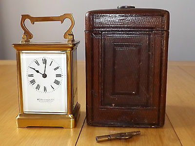 Antique/Vintage French Carriage Clock with Travel Case & Key