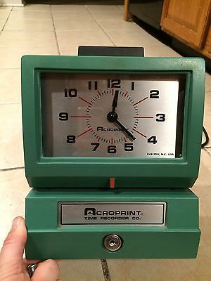 Acroprint Model 125NR4 Manual Time Recorder Time Clock W/o Key Free Shipping