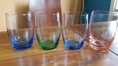 Four Beautiful Harlequin Glass Water Glasses