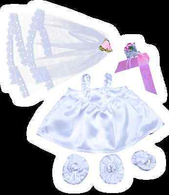 """Bride with Veil & Bouquet 16""""(40cm ) will fit Build a Bear & Stufflers Bears"""