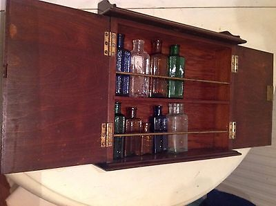 small wall vintage mahogany oils and medicines cabinet wood + vtg  glass bottles