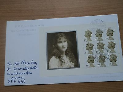 GB 2000 Queen Mother 100th Birthday Booklet Pane FDC Postmark Clarence House