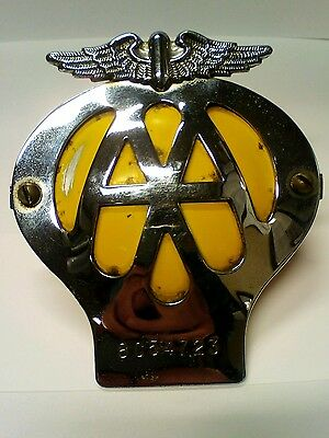 Vintage AA Automobile Association Car Badge with fixings reg no 8C54723