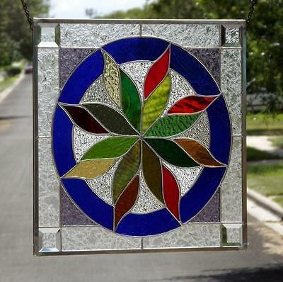 "• FALL EFFECT • Stained Glass Window Panel • 18 ½""x18 ½"" Signed &Numbered-COA"