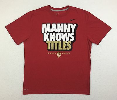Nike Manny Pacquiao Knows Titles Red Boxing Tee T Shirt Men's Large L XL 2XL XXL