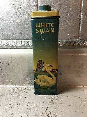 Antique White Swan Bo-Kay Perfume Powder In A Tin Can Dated 1936