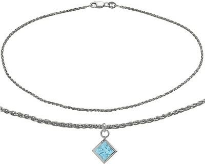10K WG 9 Inch Wheat Anklet with Genuine Blue Topaz Square Charm